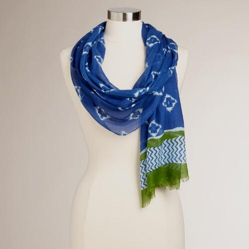 Blue and Green Zigzag Ikat Scarf