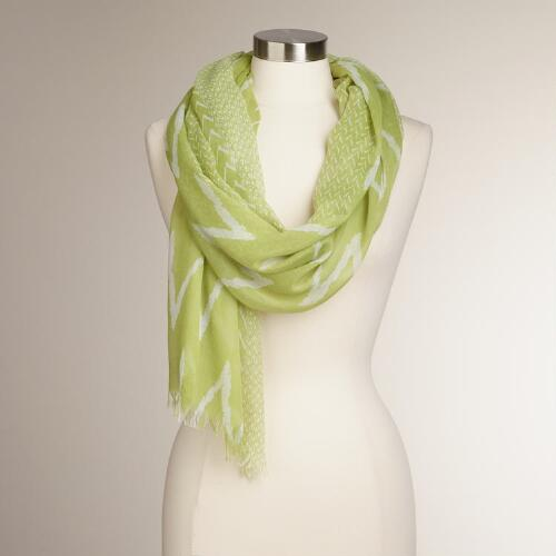 Lime Green Scarf with Chevron Border