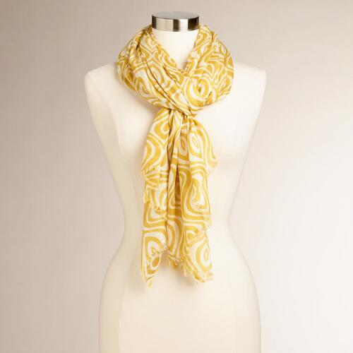 Yellow and Ivory Medallion Modern Scarf