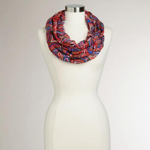Red, Blue and Brown Ikat Infinity Scarf