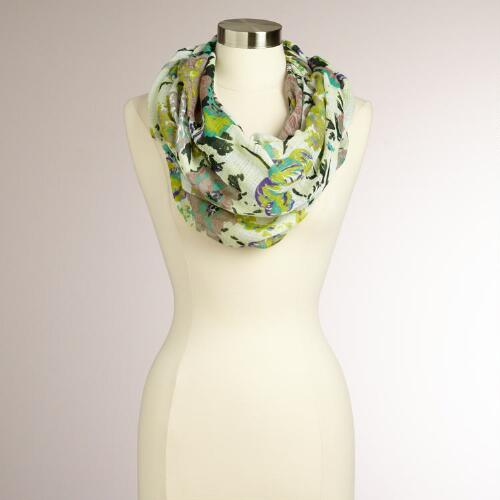Ivory and Green Floral Bouquet Scarf