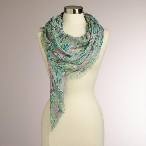 Gray and Mint Floral Square Scarf