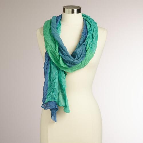 Aqua and Blue Two-Toned Pleated Scarf