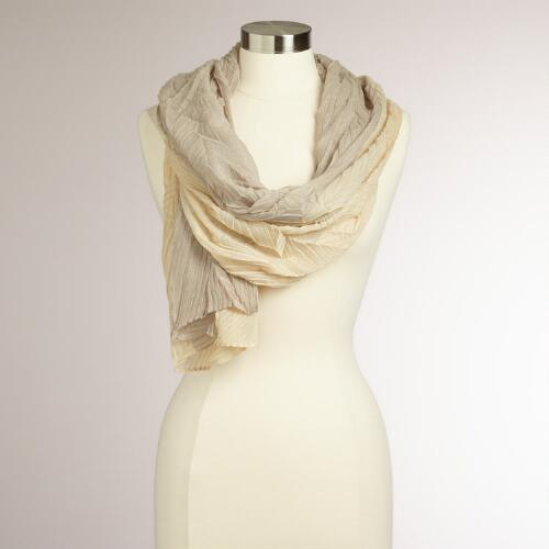Beige and Cream Two-Toned Pleated Scarf