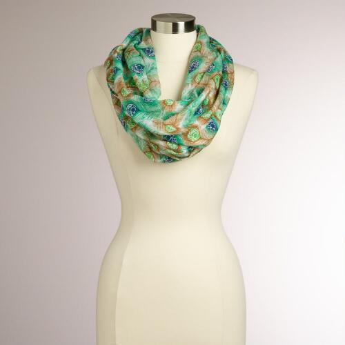 Mint and Blue Peacock Feather Infinity Scarf