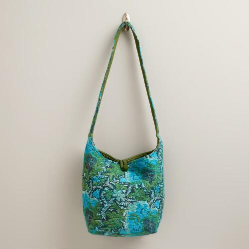 Turquoise and Green Batik Felt Bag