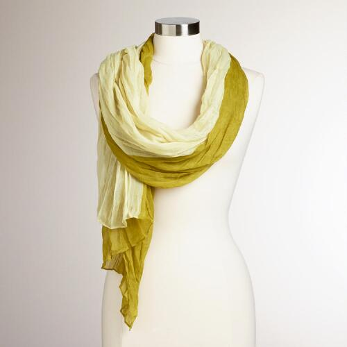 Green and Ivory Two-Toned Crinkle Scarf