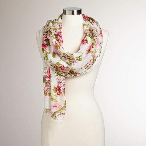 Pink and Green Floral Vintage Scarf