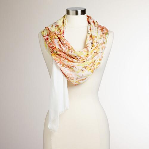 Floral Painting Scarf with Yellow Border