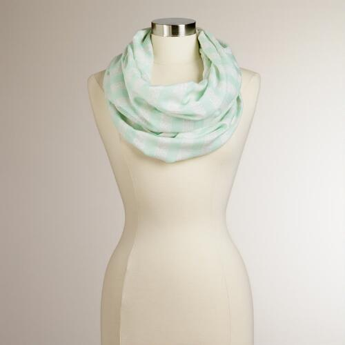 Mint Green Striped Lurex Infinity Scarf