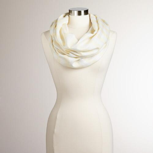 Yellow Striped Lurex Infinity Scarf