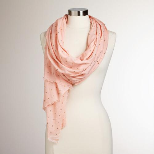 Pink and Gold Polka Dotted Curry Scarf
