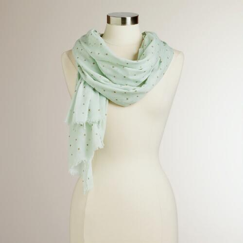 Mint Green and Gold Polka Dotted Curry Scarf