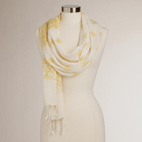 Floral and Geometric Bhuti Scarf with Yellow Border