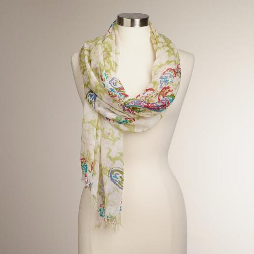 Faded Green Scarf with Red Paisleys