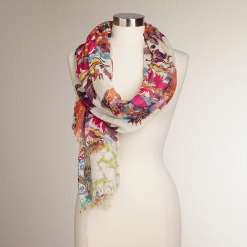 Ivory, Fuchsia and Orange Floral Scarf