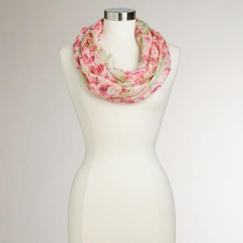 Pink and Green Floral Watercolor Infinity Scarf