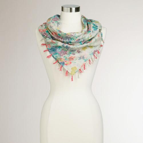 Pastel Floral Square Scarf with Tassels