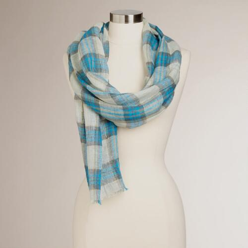 Blue Plaid Linen and Lurex Scarf