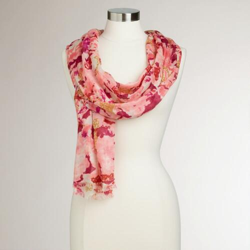 Pink Floral Abstract Watercolor Scarf