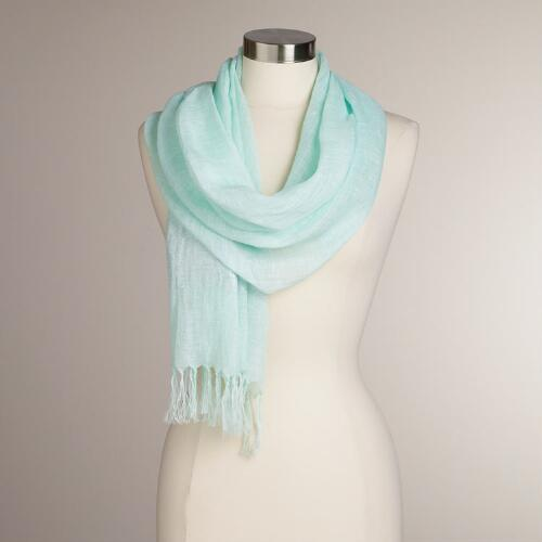 Mint Linen Scarf with Silver Lurex Border