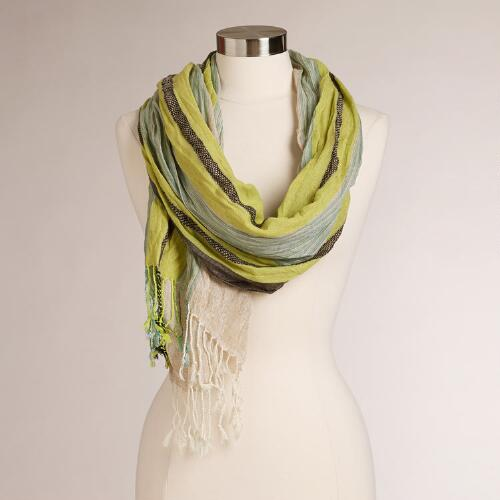 Lime and Aqua Jacquard Scarf with Striped Border