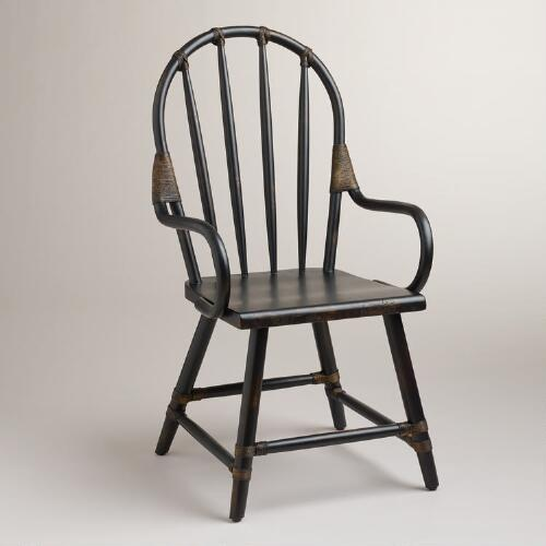 Black Winthrop Rattan Chair