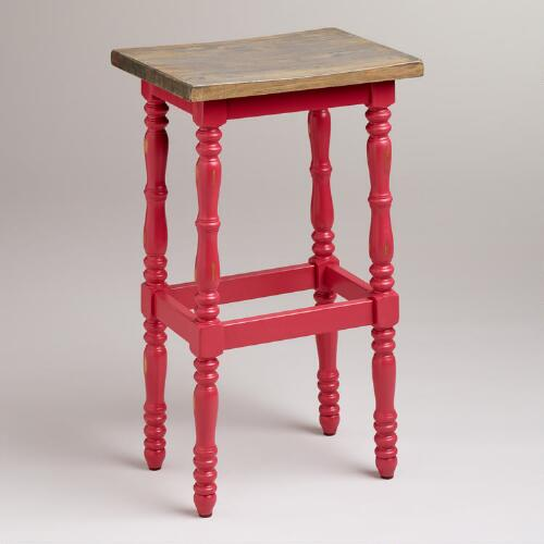 Cranberry Penelope Spindle Stool
