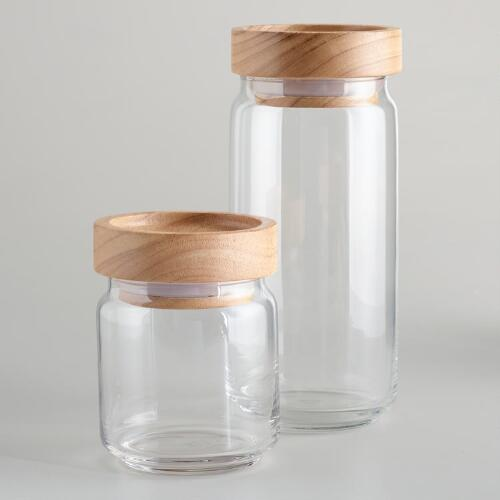 Wood Lidded Glass Jars