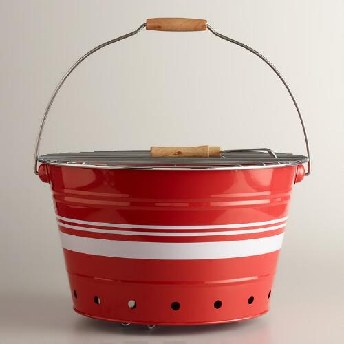 Red and White Striped Galvanized Steel Bucket Grill