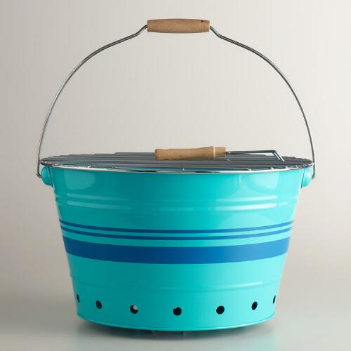 Aqua and Blue Striped Galvanized Steel Bucket Grill
