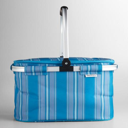 Sea-Stripe Insulated Collapsible Tote