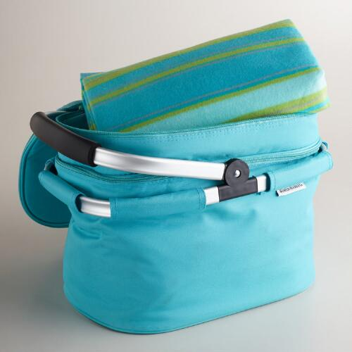 Aqua Double-Decker Tote Bag with Blanket