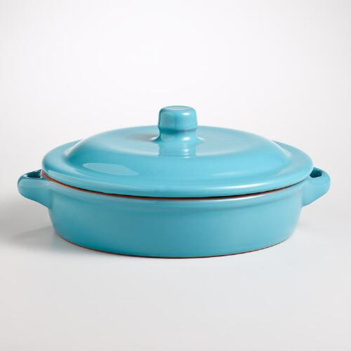 Blue Round Shallow Baker with Lid