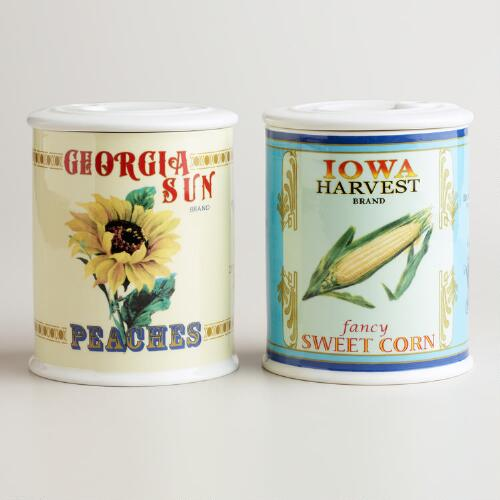 Large Vintage Can Storage Containers, Set of 2