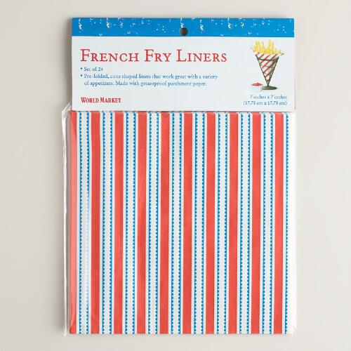 Stripes French Fry Liners, Set of 24