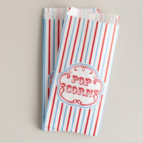 Retro Popcorn Bags, Set of 12