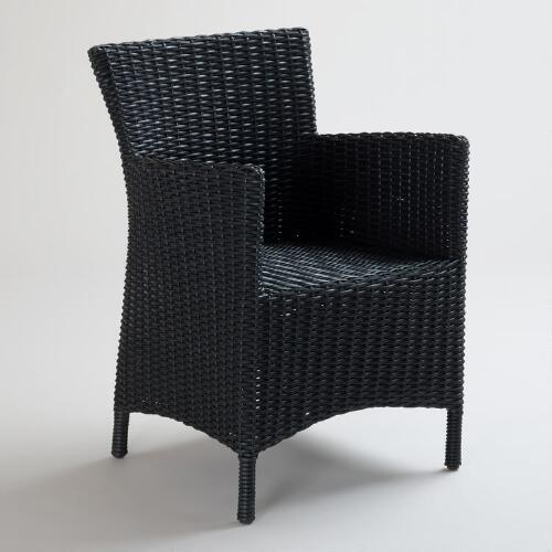 Black All-Weather Wicker Solano Dining Armchair