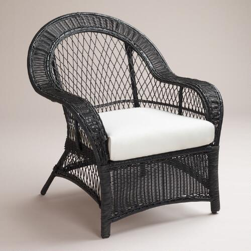 Black All-Weather Wicker Plantation Chair