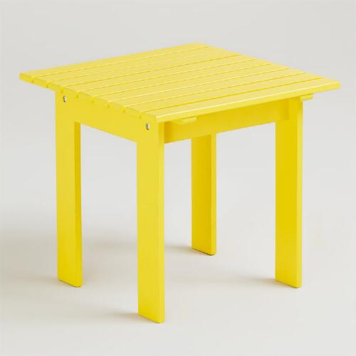 Solar Power Yellow Classic Adirondack Side Table