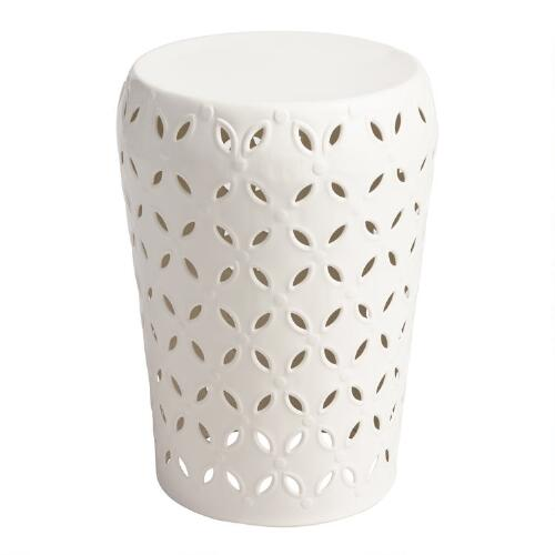 White Punched Metal Lili Drum Stool