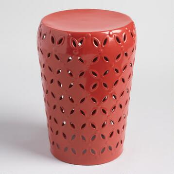 Orange Punched Metal Lili Drum Stool