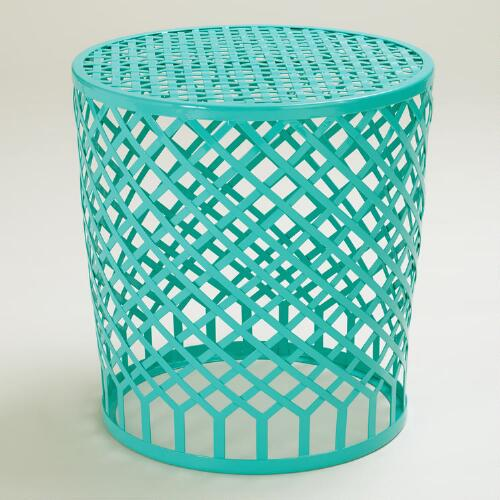 Blue Round Landon Strap Stool