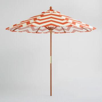 9' Orange Chevron Umbrella