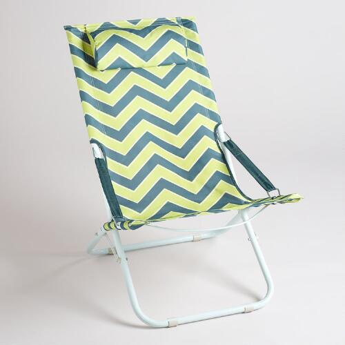 Apple Green Chevron Beach Chair