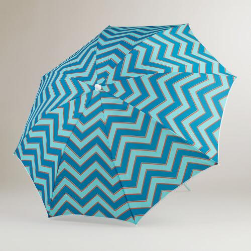 Blue Chevron Beach Umbrella