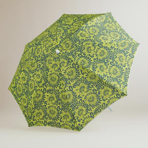 Apple Green Floral Beach Umbrella