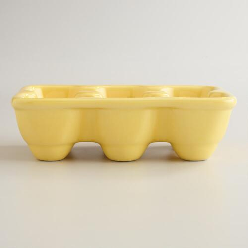 Yellow Ceramic Half Egg Crate