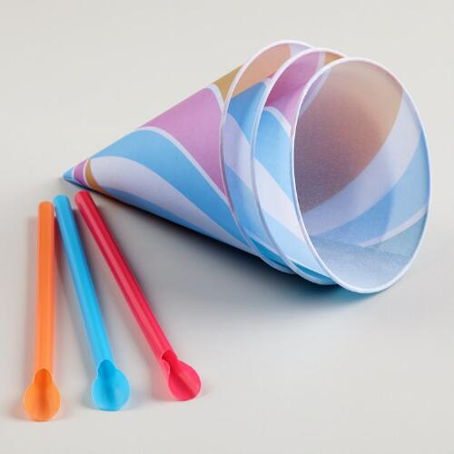 Snow Cone Cups and Straws, 20-Pack