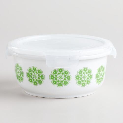 Small Green Floral Ceramic Bowl